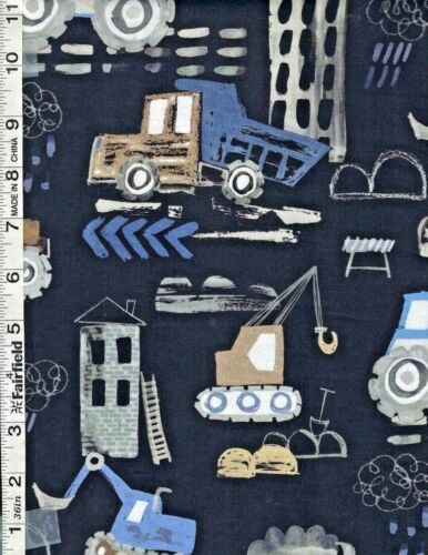 Gray Diggers & Dumpers Construction Trucks by Michael Millers Fabrics bty