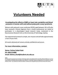 PCOS RESEARCH VOLUNTEERS URGENTLY REQUIRED (WILL BE REIMBURSED)