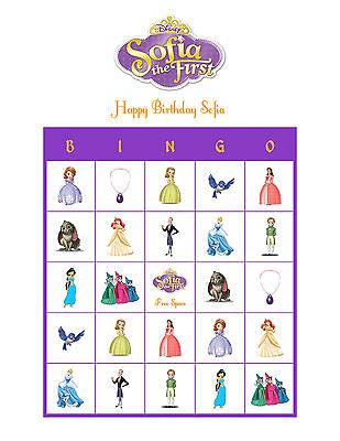 Sofia the First Disney Personalized Bingo Cards Birthday Party Game