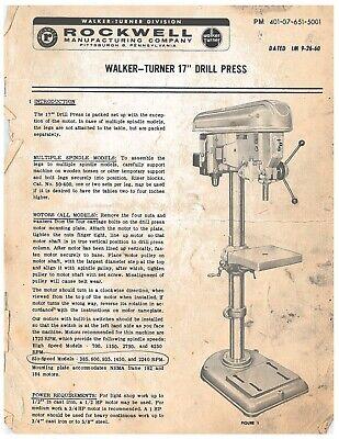 Rockwell-delta Walker-turner 17 Drill Press Operator Maintenance Manual