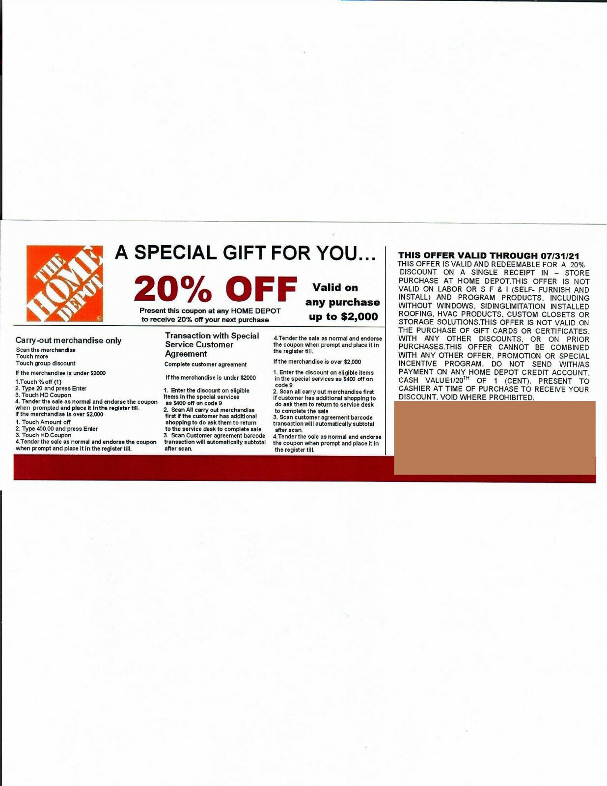 3 20 OFF HOME DEPOT Competitors Coupon Exp 7/31/21  - $15.00