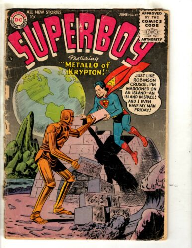 Superboy # 49 GD/VG DC Silver Age Comic Book Metallo Krypton Superman JL10