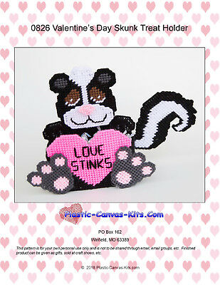 Valentine's Day Skunk Treat Holder-Plastic Canvas Pattern or Kit](Valentine Treats)