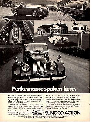 1951 FERRARI / 1953 JAGUAR / 1971 LAMBORGHIN I/ 1967 MORGAN ~ ORIGINAL SUNOCO AD