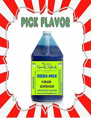 Snow Cone Syrup Any Flavor. 1 Gallon Jug Buy Direct Licensed Mfg