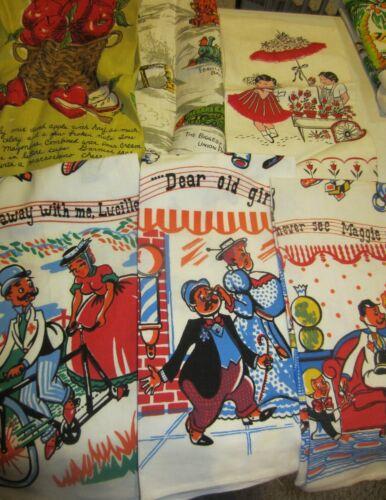 Vintage tea towel lot  fruits - trains - people