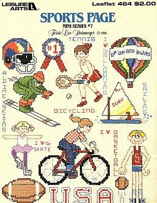 Leisure Arts- Sports Page Mini Series #7 - Counted Cross Stitch Pattern 1987