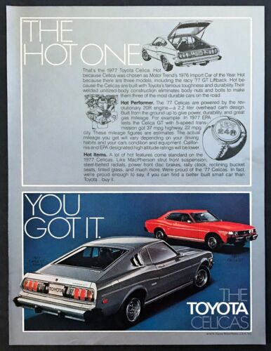 """1977 Toyota Celica GT Coupe & Liftback photo """"The Hot One"""" vintage print ad"""
