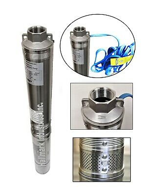 """Deep Well Submersible Pump, 4"""", 2HP/230V, 35GPM/400' Head, all S.S. Hallmark Ind"""