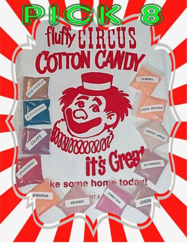 8 COTTON CANDY FLAVOR mix SUGAR FLAVORING FLOSSINE Fairy Floss Flavored