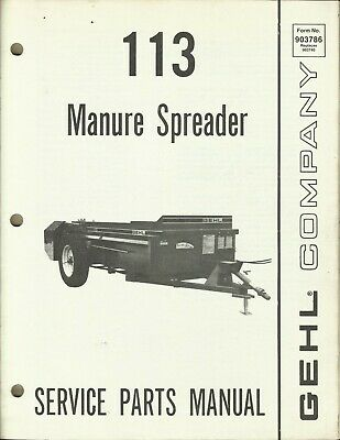 Gehl Company Manure Spreader 113 Form No. 903786 Tractor Parts Manual