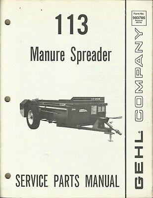 Gehl Company Manure Spreader 113 Form No. 903786 Tractor Parts Manual