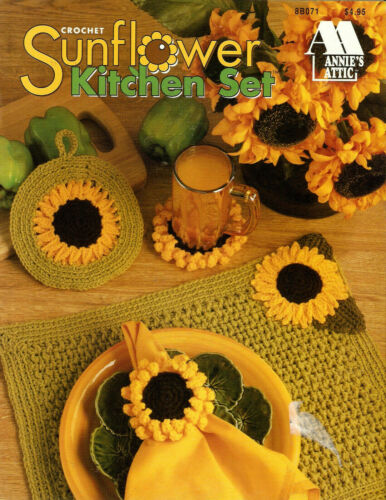 Crochet Sunflower Kitchen Set Booklet 8B071 Patterns Annie