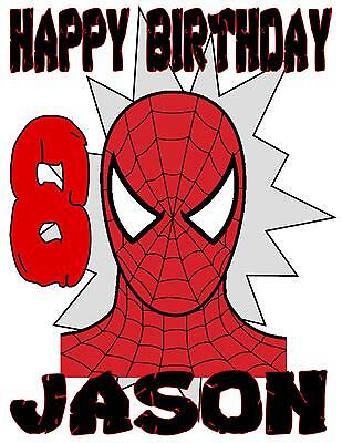 SPIDERMAN HAPPY BIRTHDAY T-SHIRT Personalized Any Name/Age Toddler to Adult