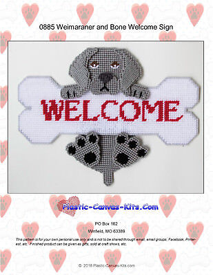 Weimaraner Dog  Bone Welcome Sign- Plastic Canvas Pattern or Kit