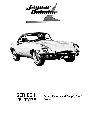 Jaguar E Type V12 Series 3 1971-1975 Factory Workshop Manual /& Parts Lists