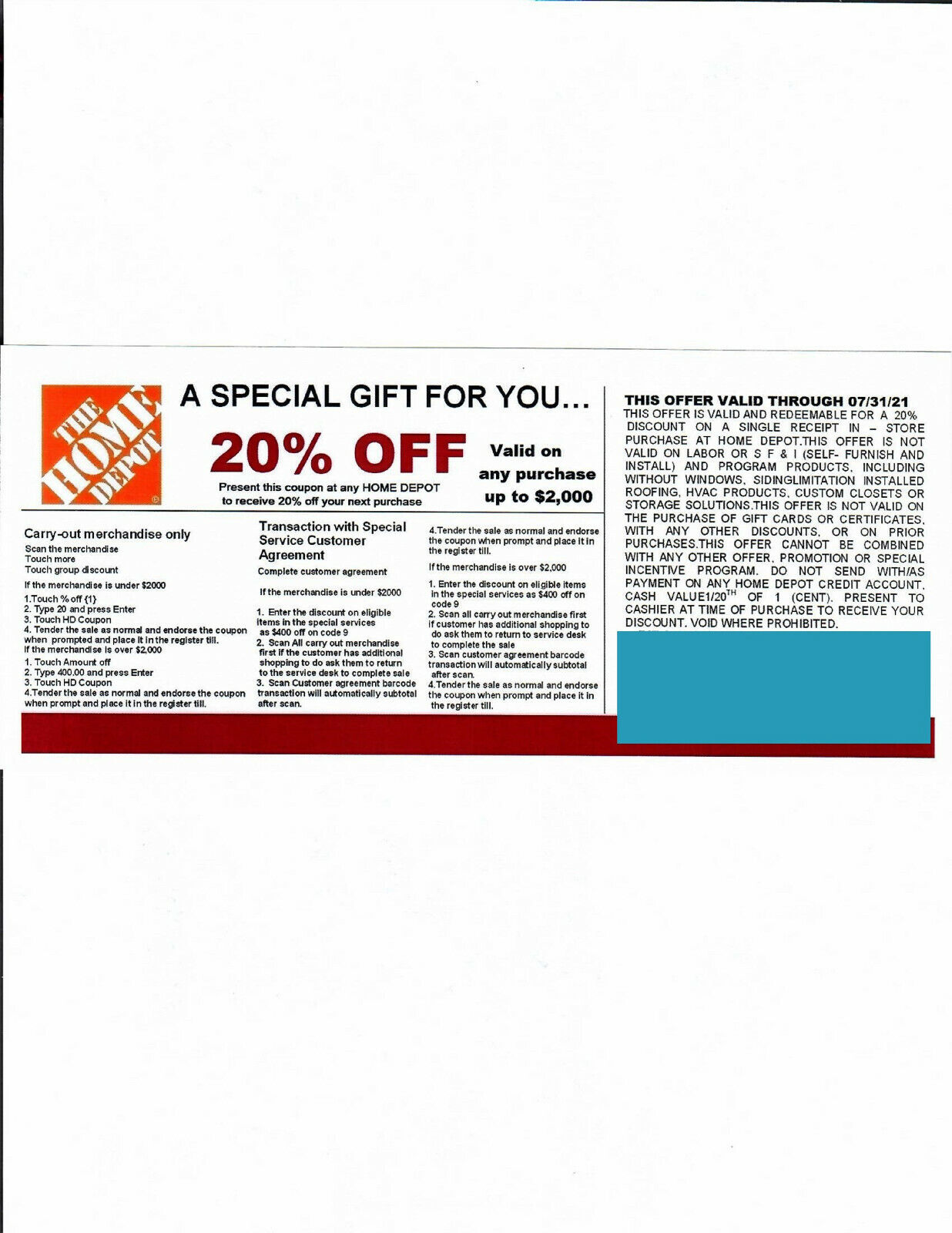 1 20 OFF HOME DEPOT Competitors Coupon At Lowe s Expires ---7/31/21 - $5.00