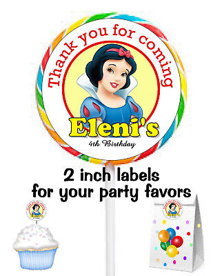 20 SNOW WHITE BIRTHDAY PARTY FAVORS STICKERS LABELS FOR YOUR PARTY FAVORS