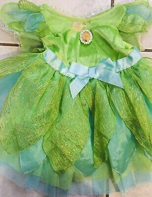 Disney Store Toddler Tinker Bell Glittery Halloween Costume & Removable Wings 2T
