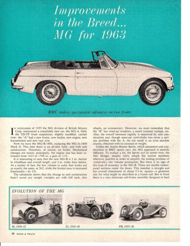 1963 MG - IMPROVEMENTS IN THE BREED ~ ORIGINAL 4-PAGE ARTICLE / AD