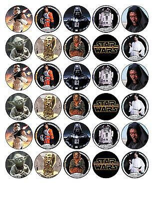 30 Star Wars EdibleWafer Paper Cupcake/Fairy Cake Toppers 3.8cm Round.