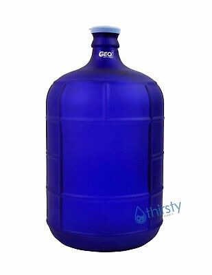 Blue 3 Gallon GLASS Water Bottle Frosted Carboy Canteen Jug Container Jar Brew
