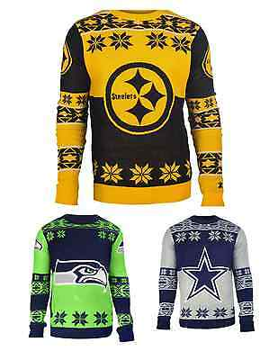 Crew Football Sweater - NFL Football Team Big Logo Crew Neck Ugly Sweater - Pick Your Team!