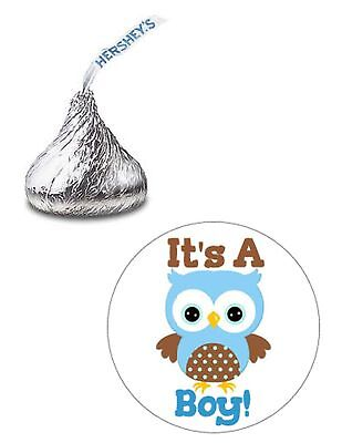 108 ITS A BOY BABY SHOWER BLUE OWL HERSHEY KISS KISSES CANDY LABELS FAVORS  - Owl Boy Baby Shower