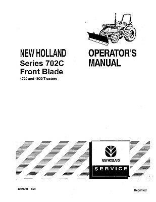 New Holland 1720 1920 702c Tractor Operators Manual