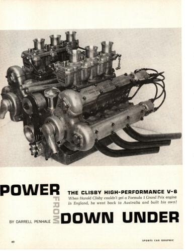 1963 CLISBY V-6 HIGH PERFORMANCE ENGINE / FORMULA 1 ~ ORIGINAL 4-PAGE ARTICLE