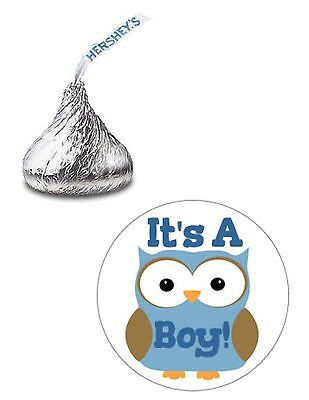 108 BLUE OWL BABY SHOWER BOY HERSHEY KISS KISSES CANDY STICKERS * - Owl Boy Baby Shower