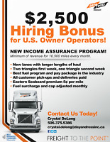Canada&US Brokers! $2500 Sign on Bonus, Min 10,500mile/mth