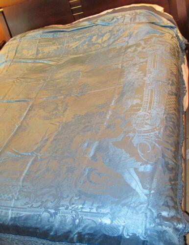 Gorgeous Damask Handmade Italian Silk Bedspread Damasco S. Leucio Cherubs