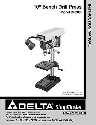 Delta-milwaukee 10 Inch Drill Press Dp-200 Instruction Manual