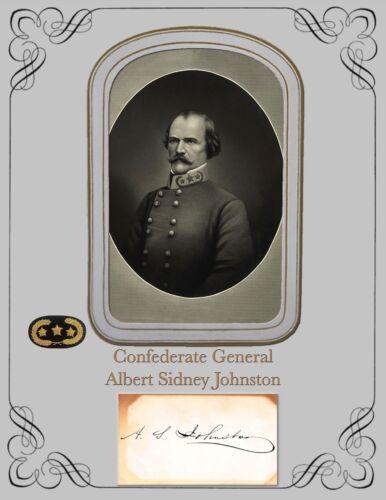 Civil War General Albert Sidney Johnston, Portrait & Autograph Card