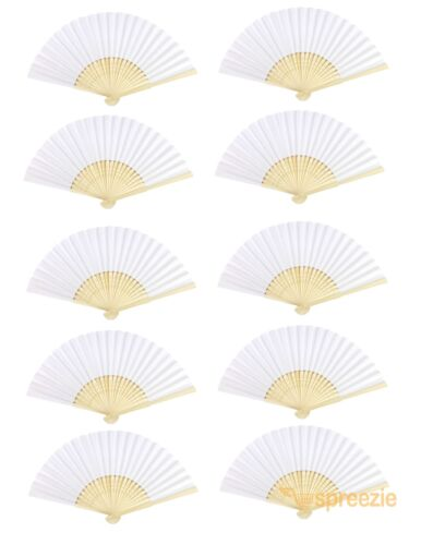 White Paper Hand Fans Bamboo Chinese Folding Pocket Fan Decor Gifts (10 Pack)