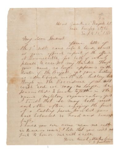 COPY Letter Civil War General Stonewall Jackson in his hand signed 1861