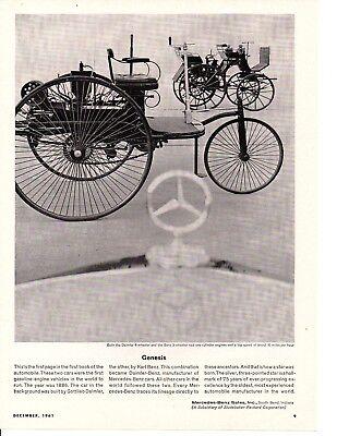 1961 Mercedes Benz   1886 Gottlieb Daimler   Karl Benz   Original Print Ad