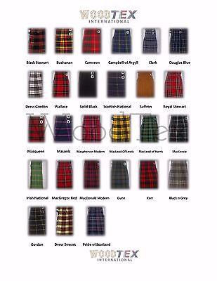 45 CLANS - 8 Yard Scottish Highland Mens Traditional Tartan KILT Sewn Pleats