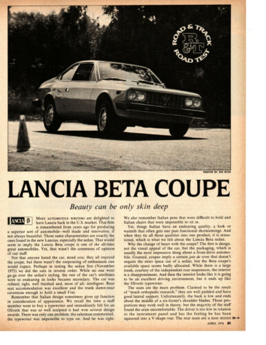 1976 LANCIA BETA COUPE ~ ORIGINAL ROAD TEST / ARTICLE / AD
