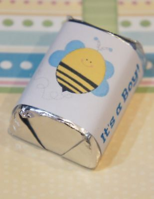 60 Baby Shower Bumble Bee Its A Boy Hershey Candy Nugget Wrappers Stickers (Boy Candy Wrappers)