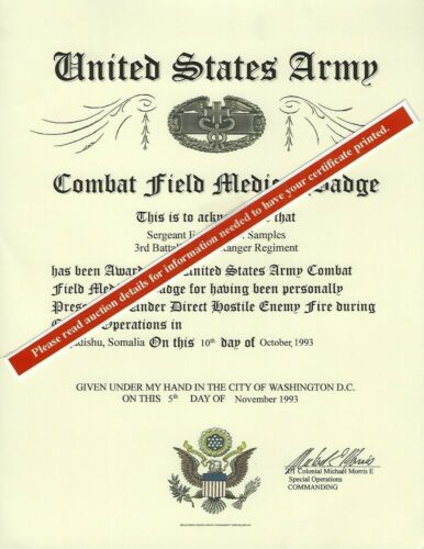 Army Combat Field Medical Badge Medal Replacement Certificate