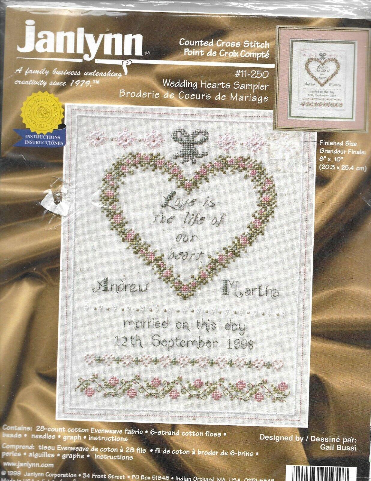 Janlynn WEDDING HEARTS SAMPLER Counted Cross Stitch Kit #11-