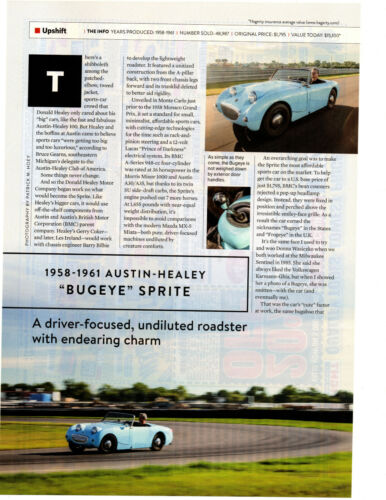 """1958-1961 AUSTIN-HEALEY """"BUGEYE SPRITE"""" ~ 2-PG COLLECTIBLE CLASSIC ARTICLE / AD"""