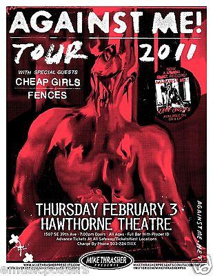 """AGAINST ME! 2011 """"WHITE CROSSES TOUR"""" PORTLAND CONCERT POSTER - Punk Rock Music"""