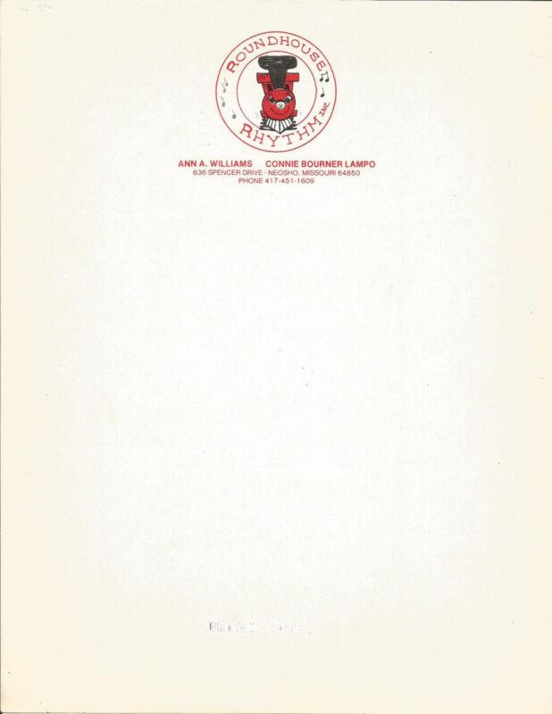 Letterhead-ROUNDHOUSE RHYTHM,Neosho,MO.Mary Bond.Train.1978 original= melaneybuy