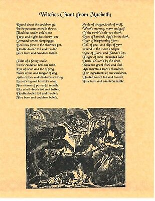 Book of Shadows Spell Pages ** Witches' Chant From Macbeth ** Wicca Witchcraft - Witches Spell Book
