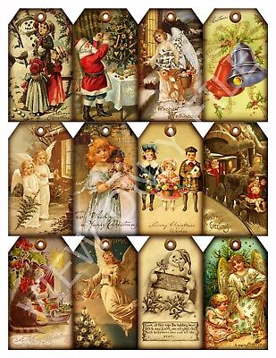 12 Christmas Vintage Hang Tags Santa Angels Snowman Scrapbooking (14)