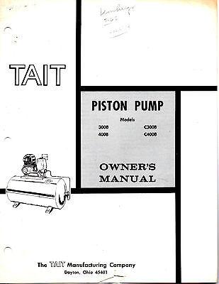 Original1965 Tait Piston Pump Owners Manual-models-300b-400b-c3008-c400b