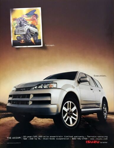 "2001 Isuzu Axiom SUV art & photo ""From Concept to Execution"" vintage print ad"